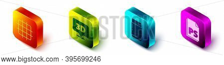Set Isometric Grid Graph Paper, Speech Bubble With Text 3d, Eraser Or Rubber And Ps File Document Ic