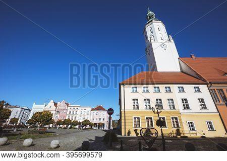 Namyslow City Hall Seen In The Morning. Namyslow, Opole, Poland.