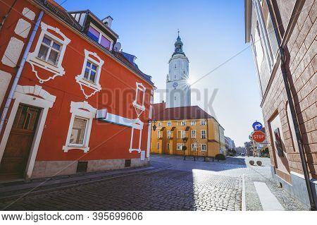 Namyslow City Hall At Sunrise. Namyslow, Opole, Poland.