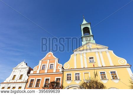 Kluczbork City Hall In The Center. Kluczbork, Opole, Poland.
