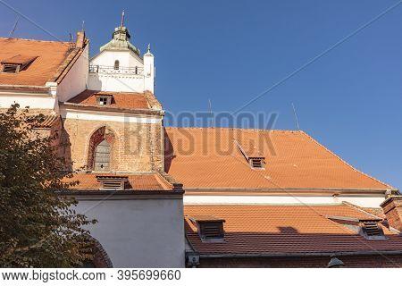 Church In The Center Of Kluczbork. Kluczbork, Opole, Poland.