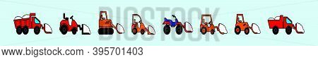 Set Of Snow Tractor With Snowdrift In Plow Cartoon Icon Design Template With Various Models. Modern