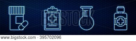 Set Line Test Tube And Flask, Medicine Bottle And Pills, Medical Clipboard With Clinical Record, Bot