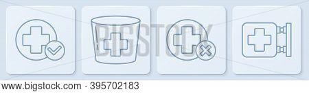 Set Line Cross Hospital Medical, Cross Hospital Medical, Nurse Hat With Cross And Hospital Signboard