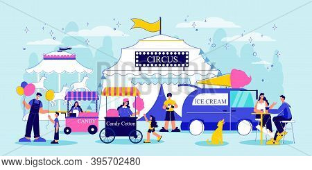 Funfair Composition With Outdoor View Of Circus Marquee Amusement Park Buildings And Rides With Huma
