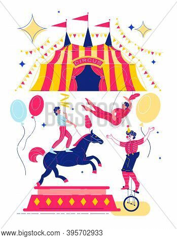 Funfair Composition With Images Of Circus Big Top Flags And Flying Balloons With Characters Of Perfo