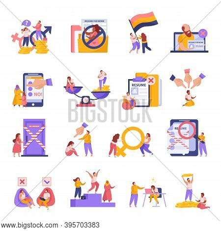 Discrimination Flat Icons Set With Gender Pay Gap Racism Age National Origin Employment Problems Iso