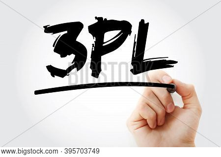 3pl - 3rd Party Logistics Acronym Text With Marker, Concept Background