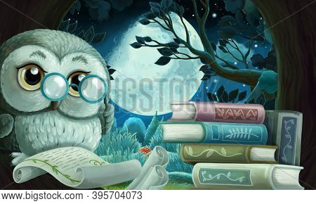 Cartoon Scene With Wise Owl In Tree House Learning Reading Books Illustration