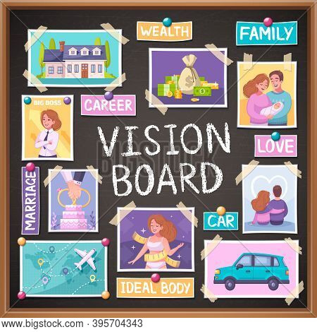 Vision Board Cartoon Planner With Marriage And Family Symbols Vector Illustration