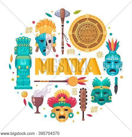 Maya Civilization Cartoon Concept With Culture And Traditions Symbols Vector Illustration