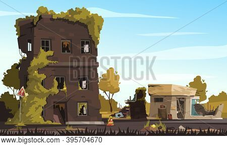 City Ruins With Destroyed Abandoned Buildings In War Zone Cartoon Background Vector Illustration