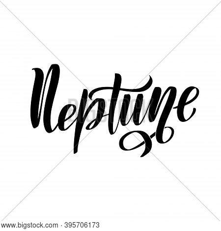 Neptune Vector Lettering. Neptune Planet Blue Simple Sign, Logo