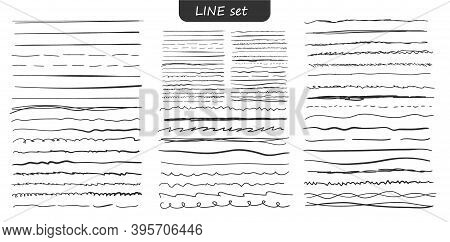 Set Of Lines Are Real Markers. Different Black Lines - Straight, Wavy, Broken, Dashed, Thick, Thin.