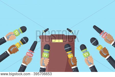 Interviews Are Journalists Of News Channels And Radio Stations. Press Conference Idea, Interviews, L