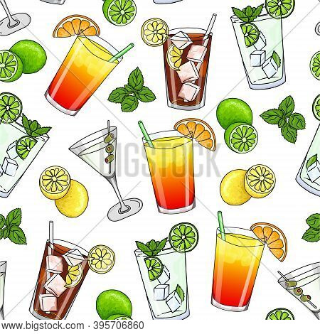Seamless Pattern Of Glass Of Mojito, Long Island Ice Tea, Dry Martini Cocktail, Sex On The Beach Coc