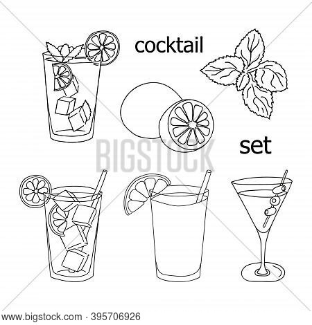 Set Of Glass Of Mojito, Long Island Ice Tea, Dry Martini Cocktail, Sex On The Beach Cocktail, Mint L