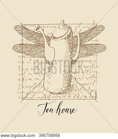 Banner With Inscription Tea House And A Hand-drawn Teapot With Dragonfly Wings On The Background Of