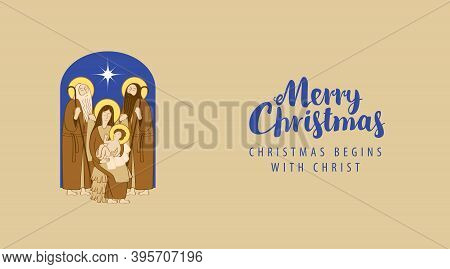 Postal Envelope With Illustration In Cartoon Style On A Christmas Theme. Holy Family And Shining Chr