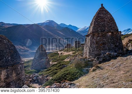 Tree And Medieval Tombs In City Of Dead Near Eltyulbyu, Russia