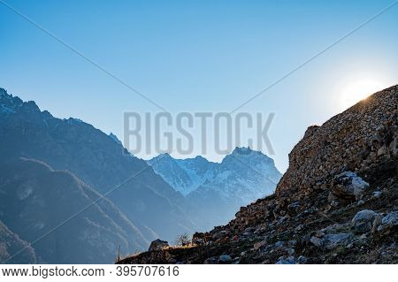 Rocks And Dry Grass In North Caucasus Mountains In Autumn On Sunny Day