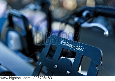 Oslo, Norway - Aug. 29th 2020: Oslo City Bike Close-up With A Sticker Saying Oslo Bysykkel Or Oslo C