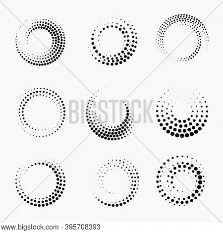 Halftone Circular Dotted Frames Set. Abstract Monochrome Halftone Pattern Dotted Pattern. Futuristic