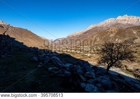 Landscape View From Old Abandoned Balkar Village In North Caucasus To New One