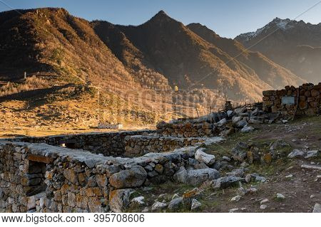 View Of Autumn Mountains In Old Abandoned Balkar Village In North Caucasus