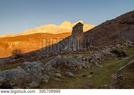 View Of Medieval Tower Fortress Amirkhan-kala In Northern Caucasus, Russia