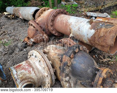 Repair Of Old Rusty Water Pipes In Silesia Region, Poland. Water Network Overhaul.
