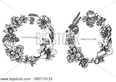 Floral Wreath Of Black And White Anemone, Lavender, Rosemary Everlasting, Phalaenopsis, Lily, Iris S