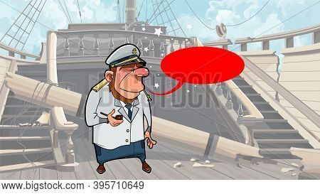 Cartoon Sea Captain Standing On The Deck Of Dilapidated Wooden Ship