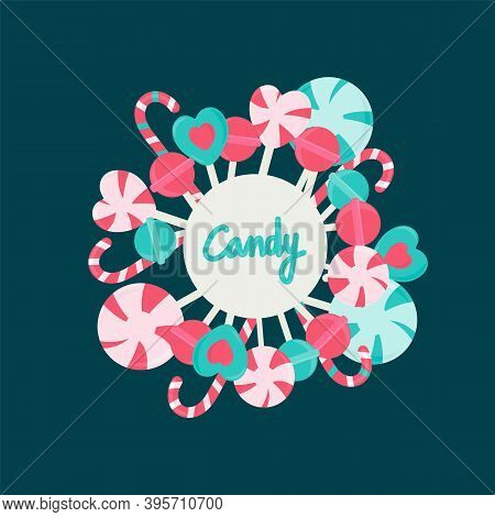 Candy Round Frame Background With Realistic Fruit Lollipops And Candy Spiral Colorful Candies. Vecto