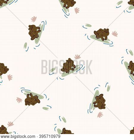 Cute Toad On Lily Vector Pattern.. Wildlife Amphibian Home Decor With Cartoon Lake Frog. Seamless Cr