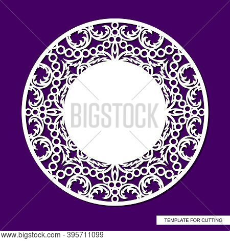 Round Frame With Place For Text In The Center. Openwork Lace Pattern, Oriental Floral Ornament Of Le