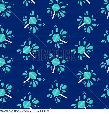 Mint Caramel Background. Pattern Of Candy On A Stick In A Circle Of Splashes. Vector Illustration Of