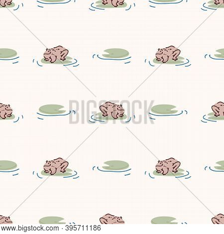 Cute Frog With Lily Vector Pattern. Wildlife Pond Amphibian Home Decor With Cartoon Lake Toad. Seaml