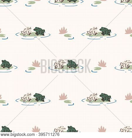 Cute Frog Lovers On Lily Vector Pattern. Wildlife Amphibian Home Decor With Cartoon Lake Toad. Seaml