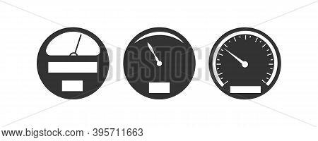 Speedometer Dashboard With Miles Counter. Speedometer Flat Design. Symbols Of Estimation Speed Tacho