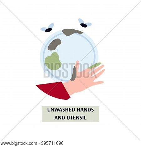Unwashed Dirty Hands And Utensils, Breach Rules Hygiene And Sanitation Cause Food Poisoning, Intoxic