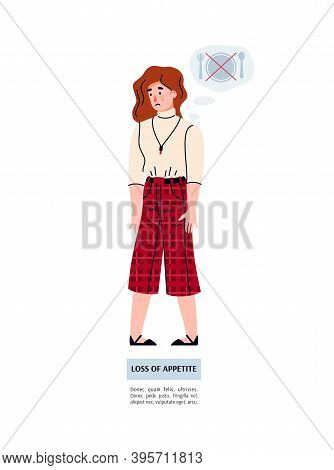 A Young Woman Suffers From Weakness Due To Loss Of Appetite. Food Poisoning Or Flu. Vector Isolated