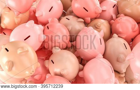 many piggy bank in color variation. savings concept. 3d render