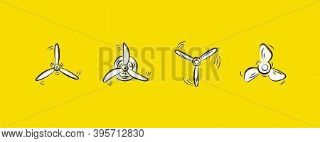 Set Of Propellers Plane. Hand Drawn Doodle. Fan, Propellers, Rotor Mover, Aircraft Propeller Icons,