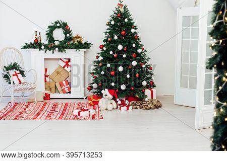 Christmas Home Fireplace Christmas Tree Christmas Tree New Year Presents