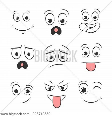 Collection Memes. Set Of Emoticons Hand Drawn Pattern. Different Eyes, Mouth, Eyebrows. Doodle Face,
