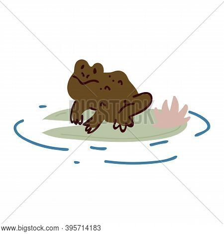 Cute Cartoon Frog On Lily Pad Lineart Vector Illustration. Simple Amphibian Sticker Clipart. Kids La