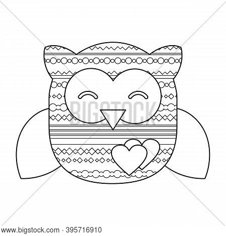 Vector Illustration With A Cute Owl. Linear Drawing Of An Owl With Geometric Patterns. Template For
