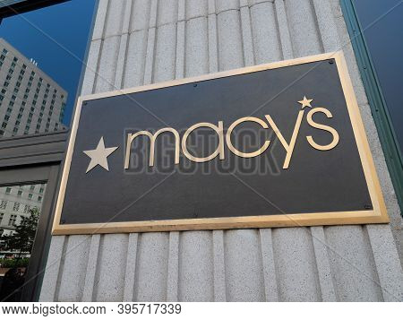 Philadelphia, Usa- June 11, 2019: A Close Up Of The Macys Sign At One Of The Entrances To The Philad