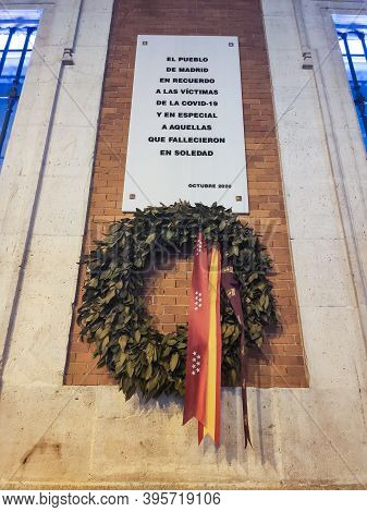 Madrid, Spain - November 9, 2020, Commemorative Plaque On The Facade Of The Community Of Madrid In M